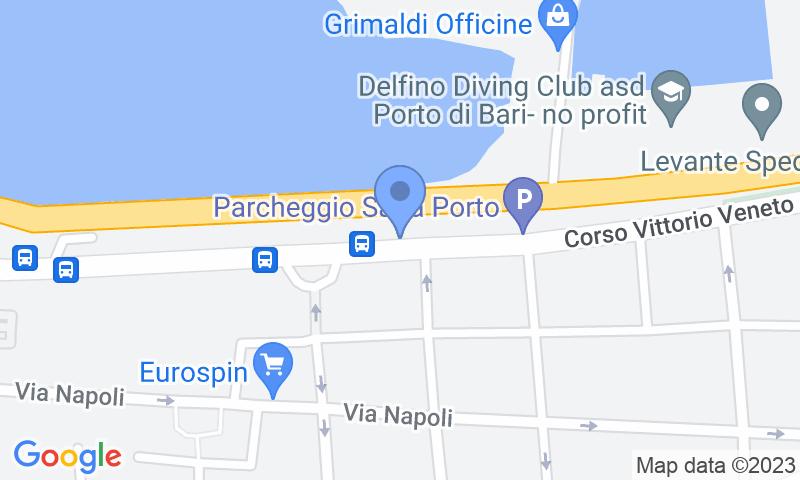 Emplacement du parking sur la carte - Réservez une place dans le parking Saba Bari-Porto