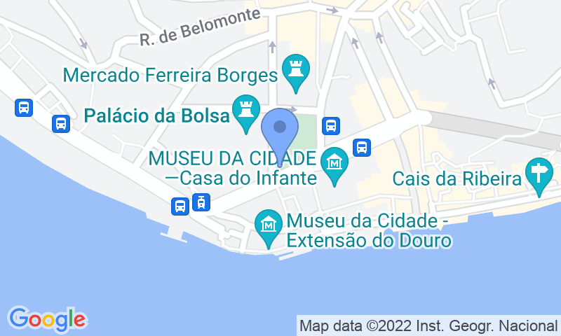 Emplacement du parking sur la carte - Réservez une place dans le parking SABA Parque da Ribeira - Praça do Infante