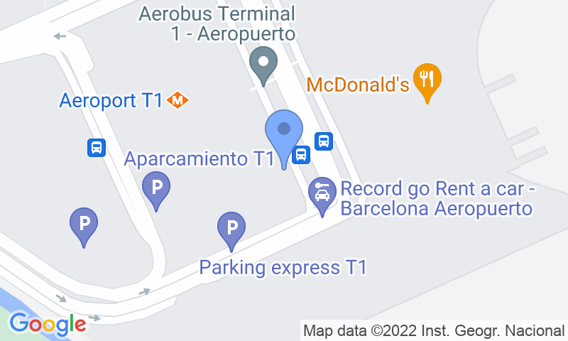 Emplacement du parking sur la carte - Réservez une place dans le parking Park & Greet Barcelona - Valet T1