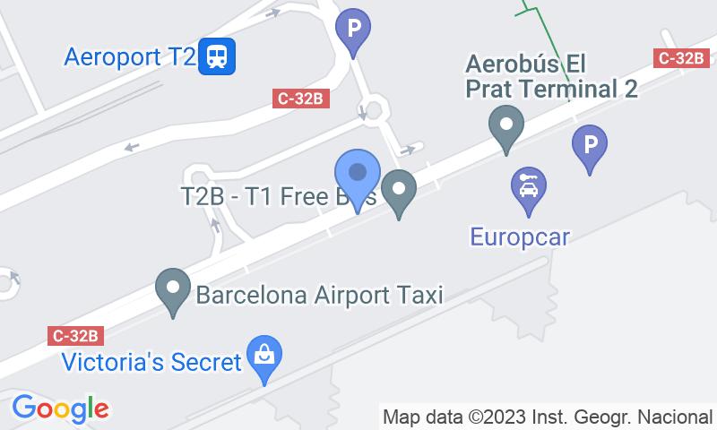 Emplacement du parking sur la carte - Réservez une place dans le parking Park & Greet Barcelona - Valet T2