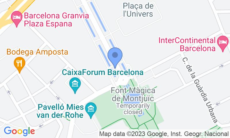 Localización del parking en el mapa - Reservar una plaza en el parking BSM Rius i Taulet - Fira Montjuïc - MULTI PASS
