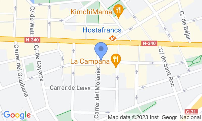 Localización del parking en el mapa - Reservar una plaza en el parking SABA BAMSA Vilardell - Hostafrancs