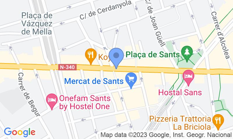 Localización del parking en el mapa - Reservar una plaza en el parking Mercat de Sants