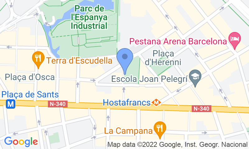 Localización del parking en el mapa - Reservar una plaza en el parking Joan Pelegrí – Hostafrancs