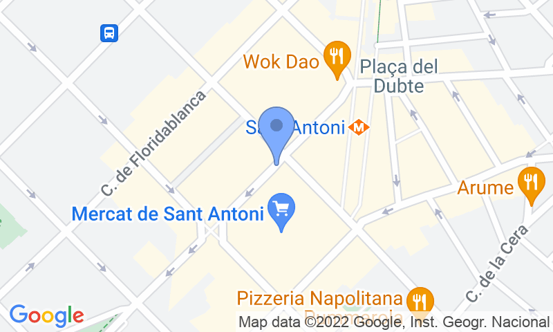 Localització del parking al mapa - Reservar una plaça al parking BSM Mercat de Sant Antoni