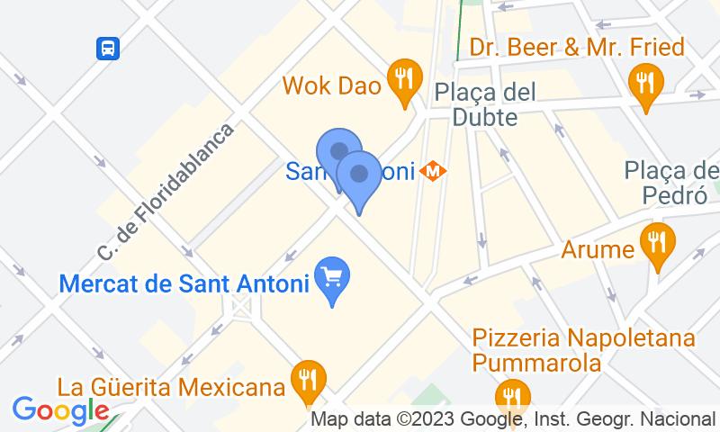 Расположение парковки на карте - Забронируйте паркоместо на стоянке SABA BAMSA Urgell - Mercat de Sant Antoni