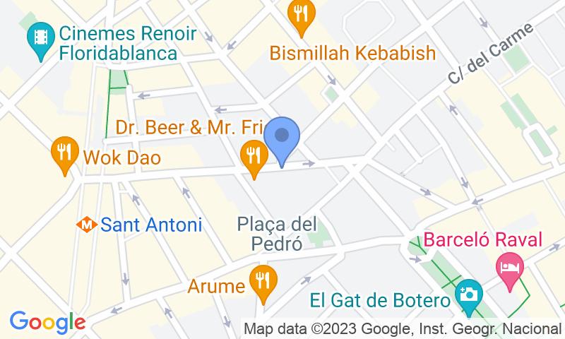 Localización del parking en el mapa - Parking en el Raval - Riera Alta - Casco antiguo
