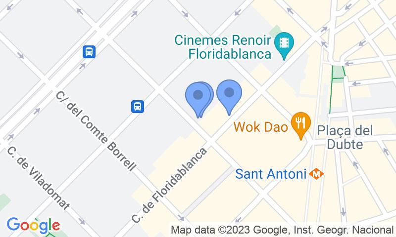Emplacement du parking sur la carte - Réservez une place dans le parking COEN Urgell