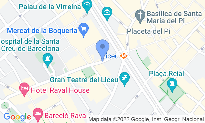 Localización del parking en el mapa - Reservar una plaza en el parking La Rambla - Ciutat Vella
