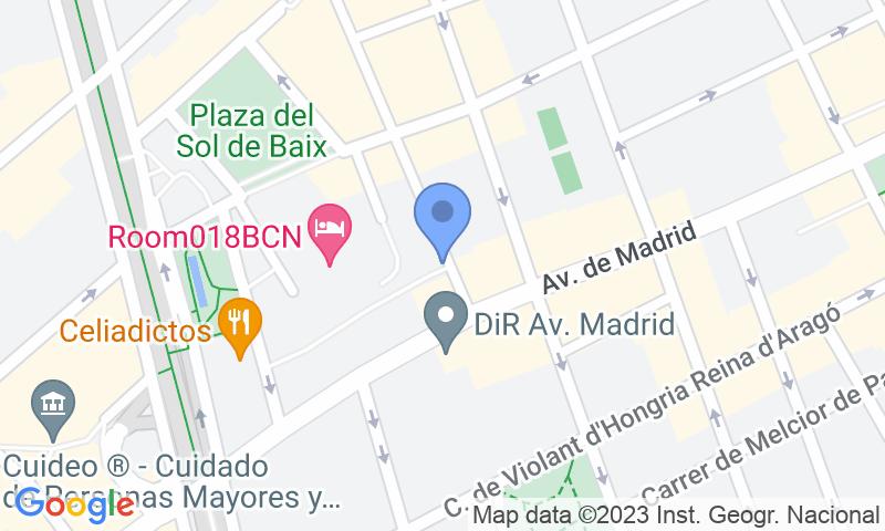 Localizzazione del parcheggio sulla mappa - Prenota un posto nel parcheggio Les Corts - Avda. Madrid