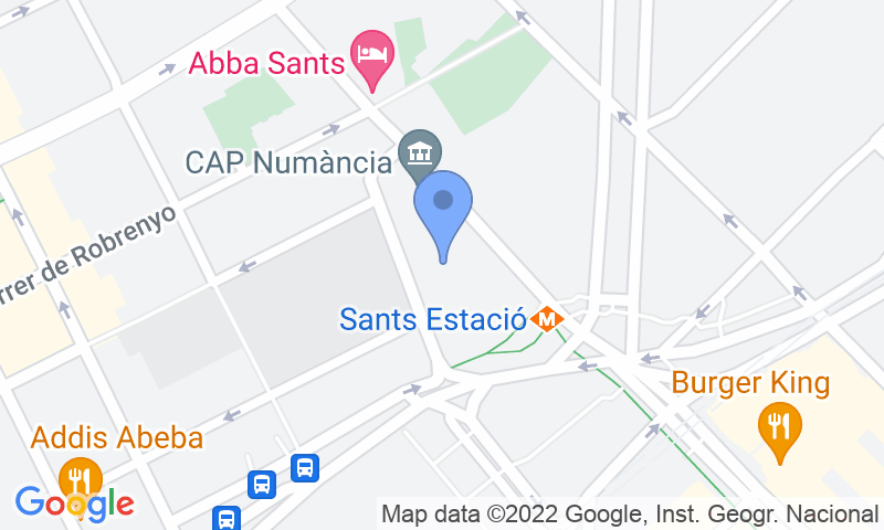 Parking location in the map - Parking at Barcelona Sants station Numancia - AVE