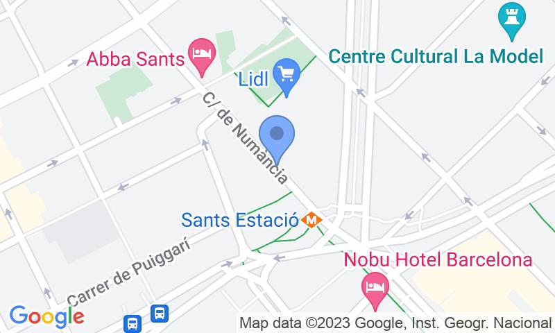 Localización del parking en el mapa - Parking en la Estación Barcelona Sants AVE