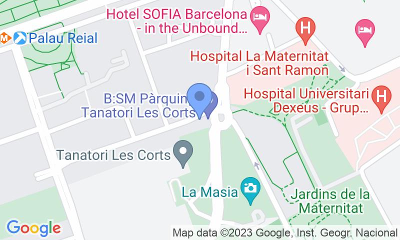 Lugar de estacionamento no mapa - Reserve uma vaga de  estacionamento no BSM Les Corts - Tanatori