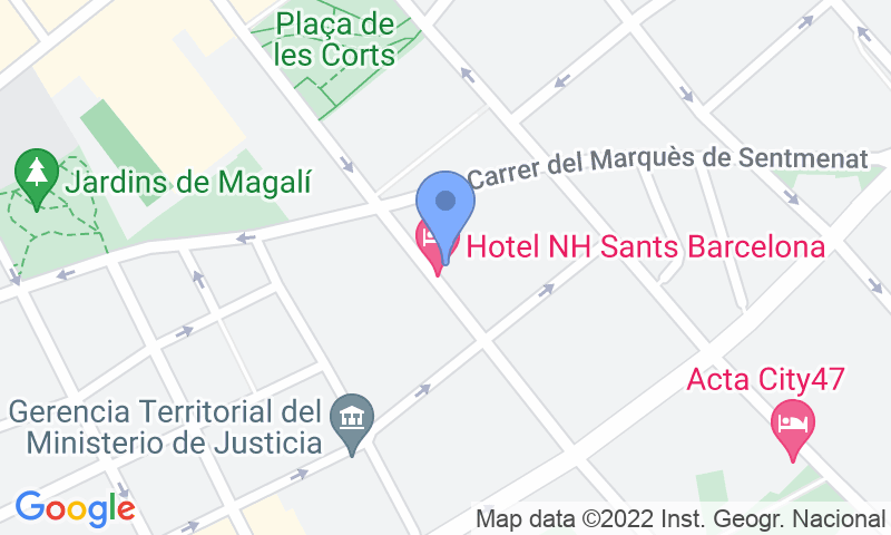 Parking location in the map - Book a parking spot in NH Sants car park