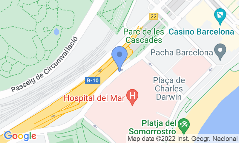 Parking location in the map - Book a parking spot in BSM Barceloneta - Parc de Recerca Biomèdica car park