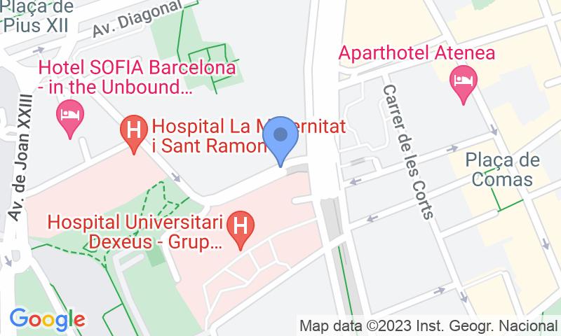 Localización del parking en el mapa - Reservar una plaza en el parking SABA Carles III - Diagonal - Sabino Arana