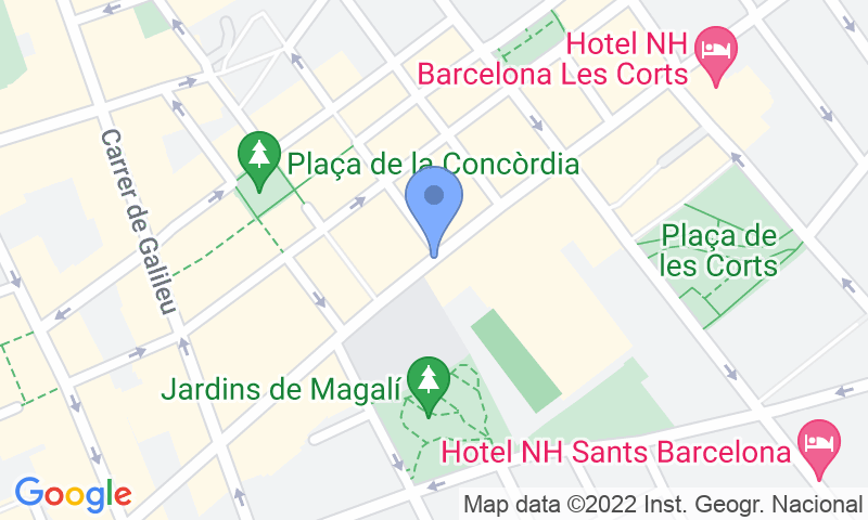 Parking location in the map - Book a parking spot in Complex Esportiu Les Corts car park