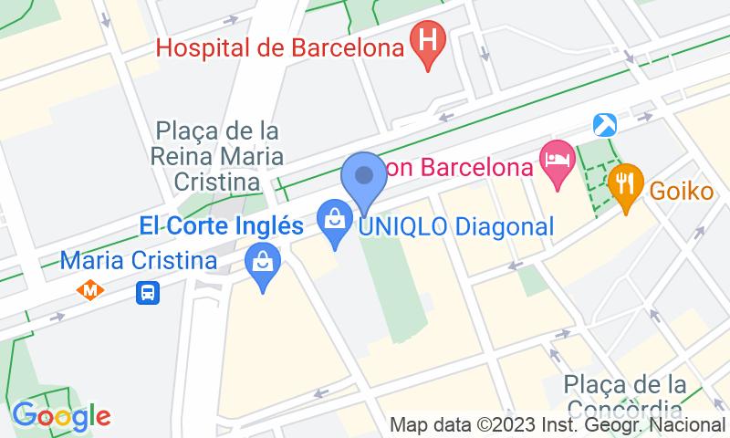 Localització del parking al mapa - Reservar una plaça al parking SABA Pedralbes Centre