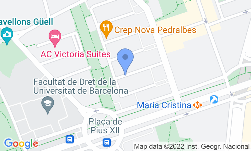 Parking location in the map - Book a parking spot in NN Pedralbes - Maria Cristina car park