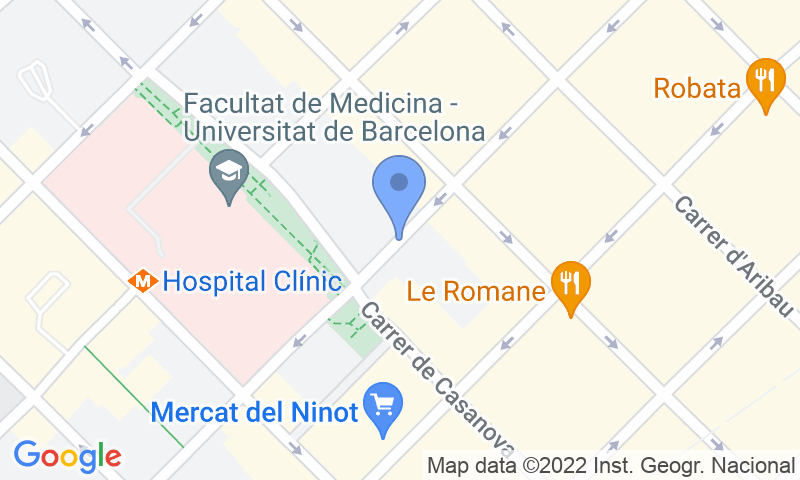 Emplacement du parking sur la carte - Réservez une place dans le parking Del Ninot - Hospital Clínic