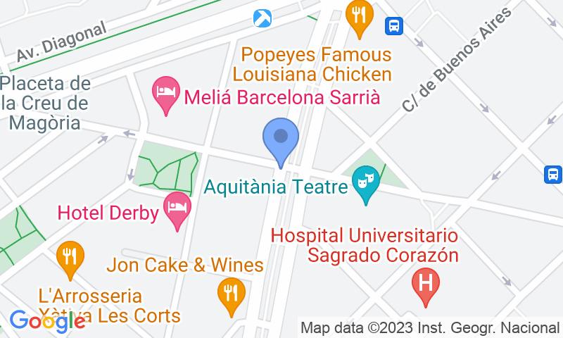 Localización del parking en el mapa - Reservar una plaza en el parking SABA BAMSA Josep Tarradellas 1 - Sarrià