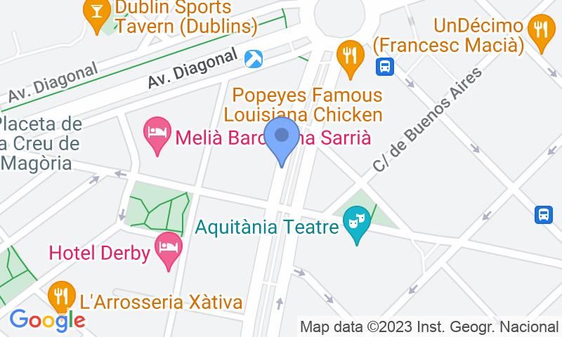 Localización del parking en el mapa - Reservar una plaza en el parking Peguera - Josep Tarradellas - Francesc Macià