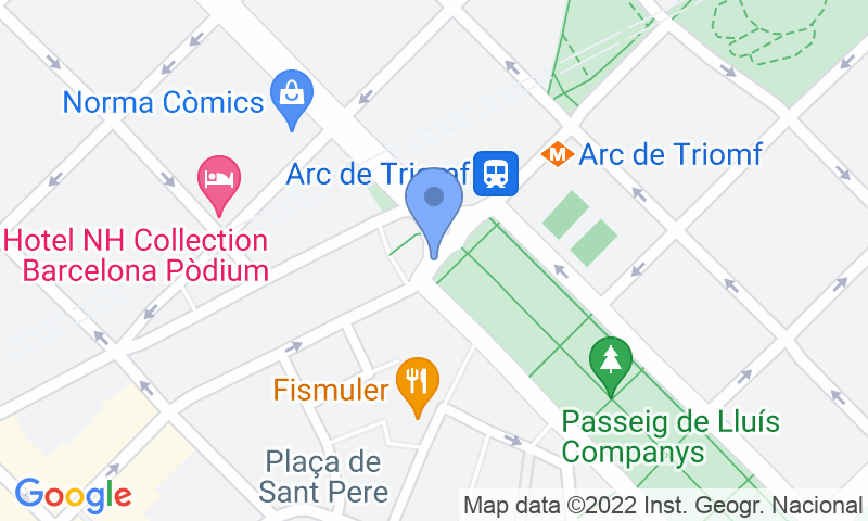 Localización del parking en el mapa - Reservar una plaza en el parking SABA Arc de Triomf -Lluís Companys