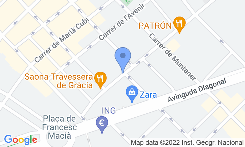 Расположение парковки на карте - Забронируйте паркоместо на стоянке SABA Travessera de Gràcia - Francesc Macià