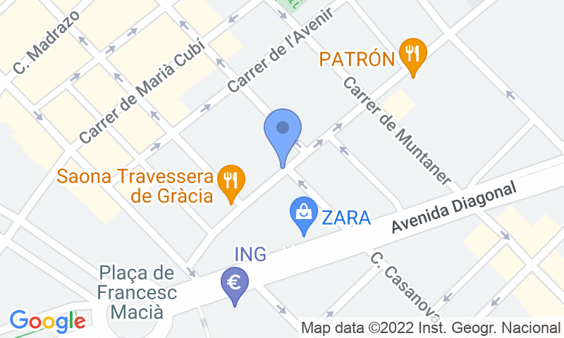 Localització del parking al mapa - Reservar una plaça al parking SABA Travessera de Gràcia - Francesc Macià