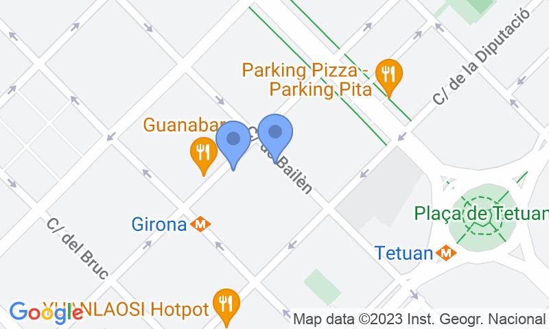 Localizzazione del parcheggio sulla mappa - Prenota un posto nel parcheggio Consell de Cent - Bailèn