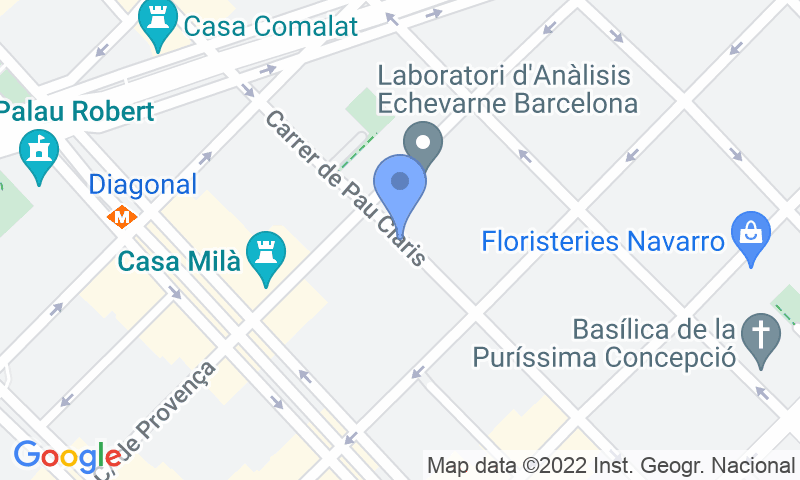 Localización del parking en el mapa - Reservar una plaza en el parking SABA Pau Claris - La Pedrera