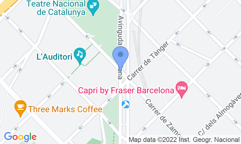 Parking location in the map - Parking Teatre Nacional - Auditori