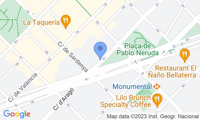 Standort des Parkplatzes auf der Karte - Buch einen Parkplatz im Manhattan Vans y Autocaravanas - Aragó Parkplatz.