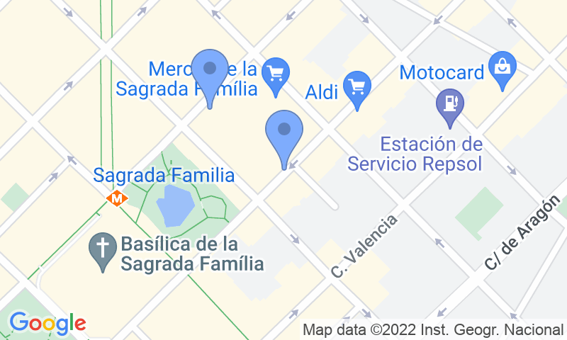 Parking location in the map - Book a parking spot in Bond Krup - Sagrada Família car park