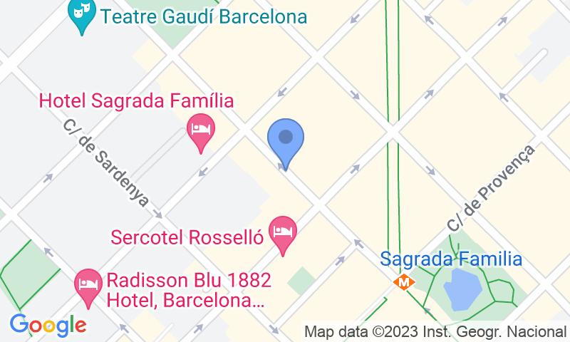 Standort des Parkplatzes auf der Karte - Parking Abapart Marina - Sagrada Família