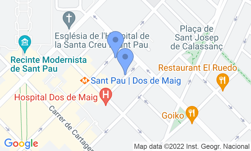 Parking location in the map - Book a parking spot in Carles - Hospital de Sant Pau car park