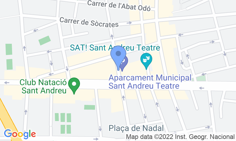 Localización del parking en el mapa - Reservar una plaza en el parking BSM Sant Andreu Teatre