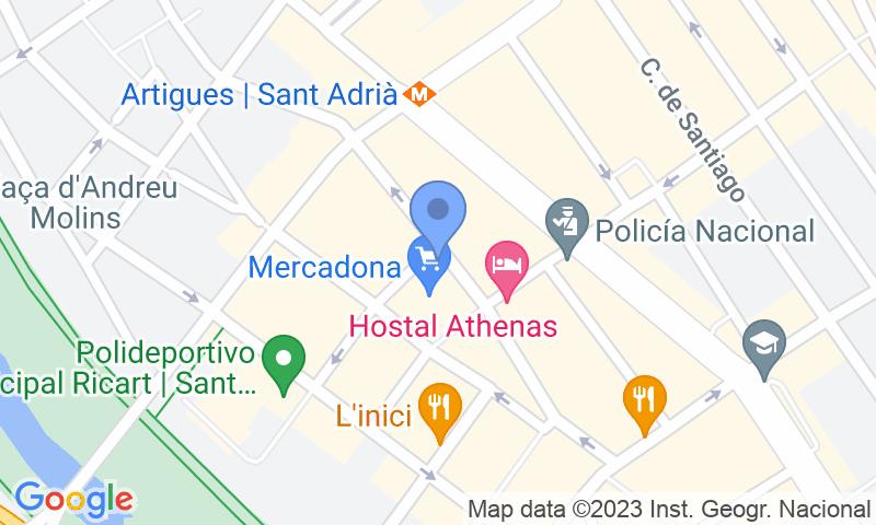 Localización del parking en el mapa - Reservar una plaza en el parking Mercat de Sant Adrià