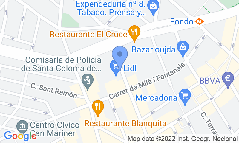Localización del parking en el mapa - Reservar una plaza en el parking Centro Santa Coloma - Garatge Marc