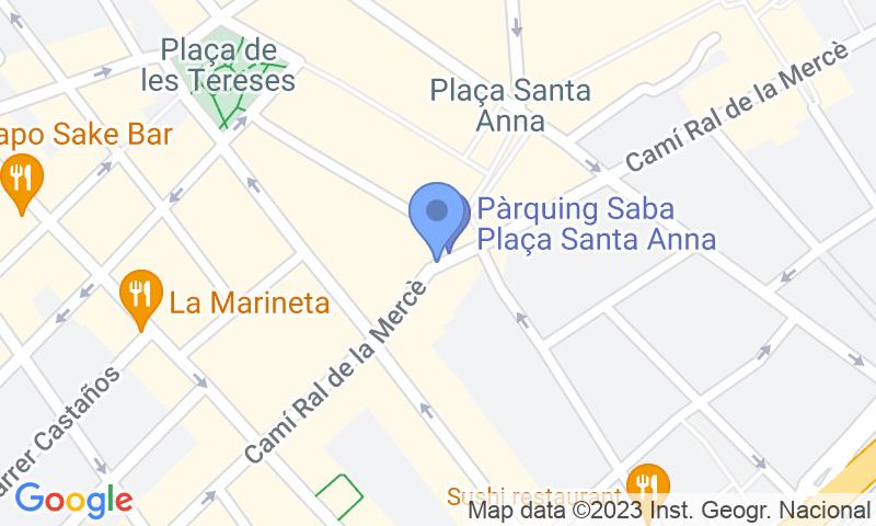 Localización del parking en el mapa - Reservar una plaza en el parking SABA Santa Anna