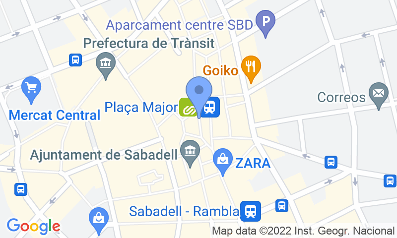 Parking location in the map - Book a parking spot in SABA Doctor Robert Sabadell car park
