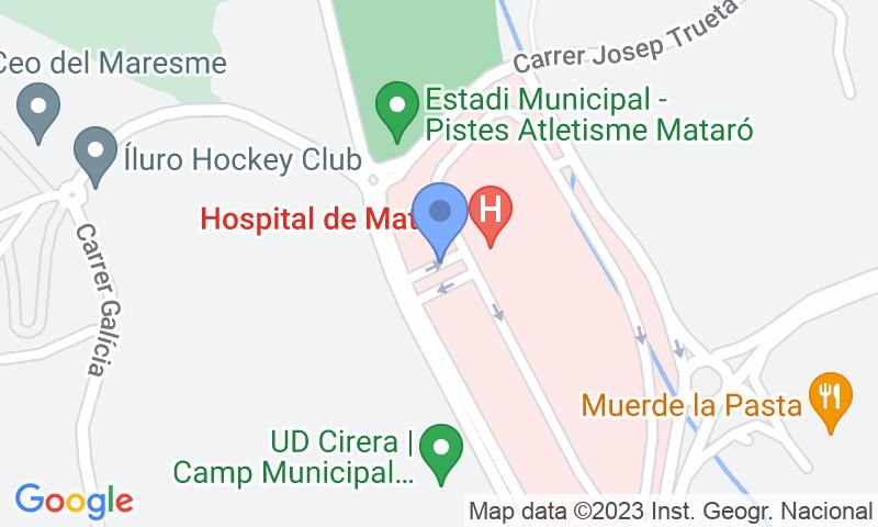 Localización del parking en el mapa - Reservar una plaza en el parking SABA Hospital de Mataró
