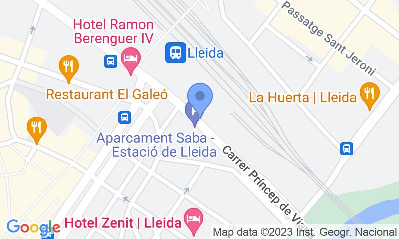 Parkeerlocatie op de kaart - Reserveer een parkeerplek in parkeergarage SABA ADIF Estación de Lleida Renfe