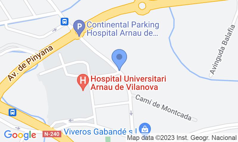 Localización del parking en el mapa - Reservar una plaza en el parking Hospital Arnau de Vilanova