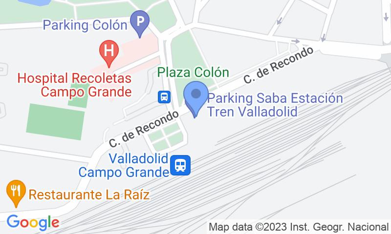 Localización del parking en el mapa - Reservar una plaza en el parking SABA ADIF Estación Valladolid Renfe