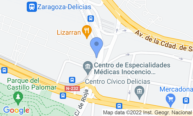 Parking location in the map - Book a parking spot in SABA ADIF Estación Zaragoza - Delicias Renfe car park