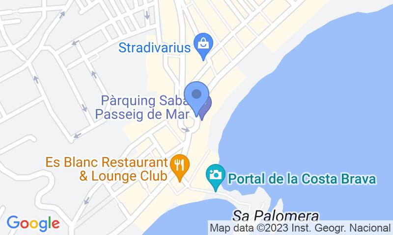 Localización del parking en el mapa - Reservar una plaza en el parking SABA Passeig de Mar