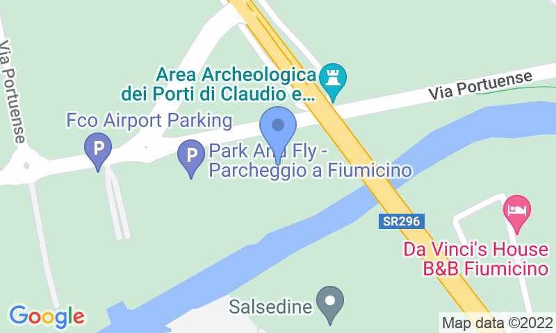 Parking location in the map - Book a parking spot in Kingparking Fiumicino car park