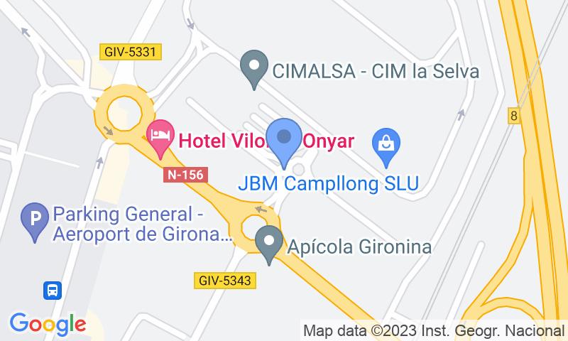 Localización del parking en el mapa - Reservar una plaza en el parking Aparkivoli Aeropuerto Girona - Costa Brava (Descubierto)