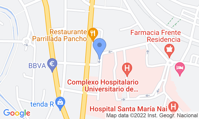 Parking location in the map - Book a parking spot in SABA Hospital Ourense (CHUO) car park